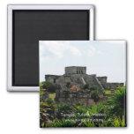 Temple, Tulum, Mexico 2 Inch Square Magnet