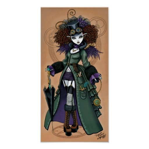 Temple Victorian Steampunk Time Traveler Angel Poster