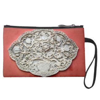 Temple Wall Art Suede Wristlet Wallet