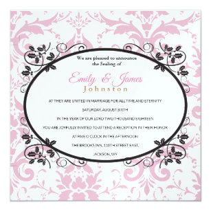 Temple Wedding Reception Invite Pink Coronation