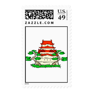 Temple With Two Bonsai Graphic image Stamps