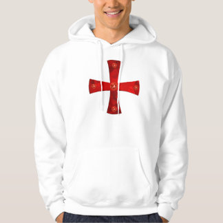 Templer cross of jewels + Swords in the back Hooded Pullover