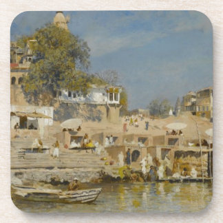 Temples and bathing ghat at Benares by Edwin Lord Beverage Coaster