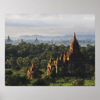 Temples at sunrise, Bagan, Myanmar Poster