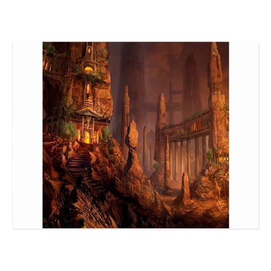 Templo abstracto de la fantasía del fuego tarjetas postales