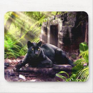Templo antiguo de la pantera negra del cojín de alfombrilla de ratón
