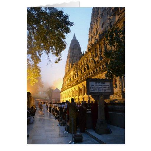 Templo budista Bodh Gaya la India de Mahabodhi Tarjeton
