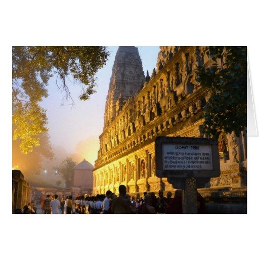 Templo budista Bodh Gaya la India de Mahabodhi Tarjeta