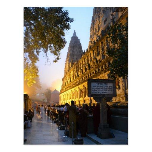 Templo budista Bodh Gaya la India de Mahabodhi Tarjetas Postales