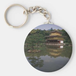 Templo budista de Kinkaku-ji Llavero Redondo Tipo Pin