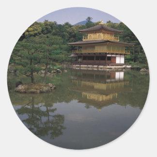 Templo budista de Kinkaku-ji Pegatina Redonda