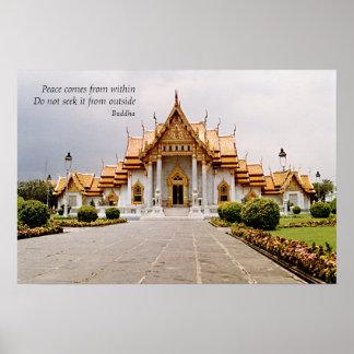 Templo budista de mármol del oro con paz poster
