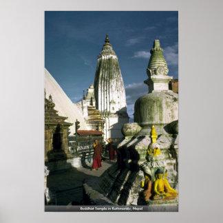 Templo budista en Katmandu, Nepal Póster