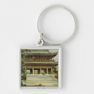 Templo budista en Kyoto, Japón Llavero Cuadrado Plateado
