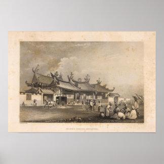 Templo chino, Singapur Posters