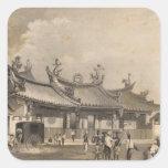 Templo chino, Singapur Calcomanías Cuadradass Personalizadas