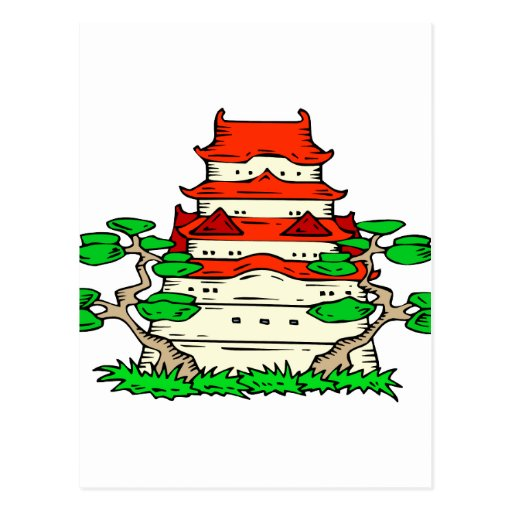 Templo con imagen del gráfico de dos bonsais tarjeta postal