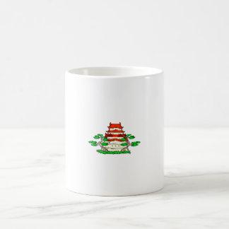 Templo con imagen del gráfico de dos bonsais taza básica blanca