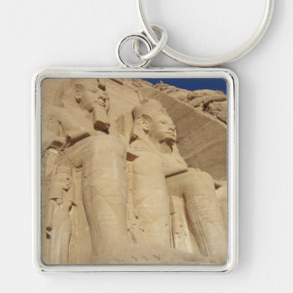 Templo de Abu Simbel Llavero Cuadrado Plateado