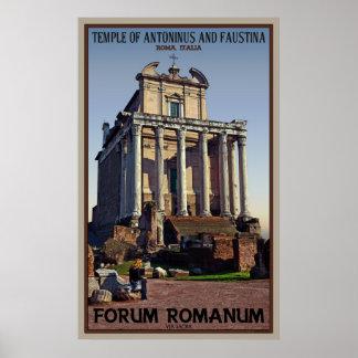 Templo de Antoninus y de Faustina Poster