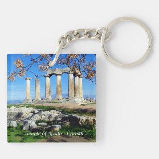 Templo de Apolo - Corinto Llavero Cuadrado Acrílico A Doble Cara