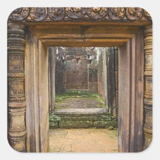Templo de Banteay Srei, Angkor, provincia de Siem Pegatina Cuadrada