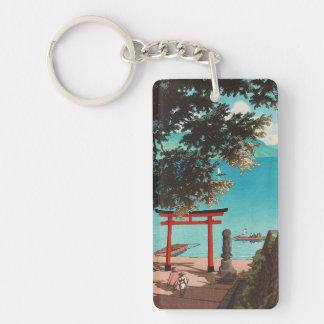 Templo de Chuzenji en la playa Hasui Kawase de Uta Llavero Rectangular Acrílico A Doble Cara