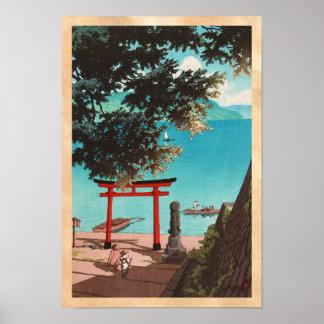 Templo de Chuzenji en la playa Hasui Kawase de Uta Poster