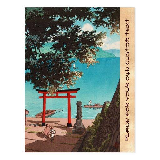 Templo de Chuzenji en la playa Hasui Kawase de Uta Tarjetas Postales