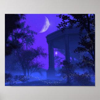 Templo de Diana en el claro de luna Póster