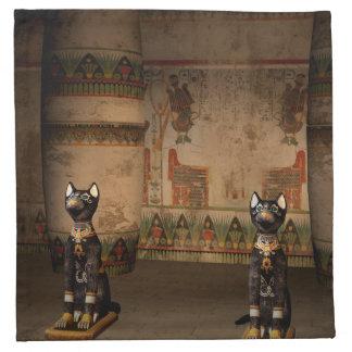 Templo de Egipto con hieroglyphics Servilletas Imprimidas