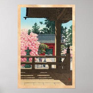 Templo de Fudô en Meguro, arte de Tokio Hasui Kawa Impresiones
