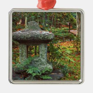 Templo de Giohji, Arashiyama, Kyoto, Japón Adorno Cuadrado Plateado