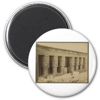 Templo de Hathor, Egipto circa 1867 Imán Redondo 5 Cm