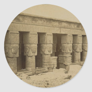 Templo de Hathor, Egipto circa 1867 Pegatina Redonda