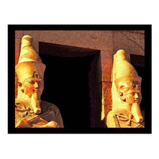 Templo de Hatshepsut, estatuas como Osiris Postales