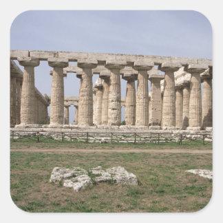 Templo de Hera I Pegatina Cuadrada
