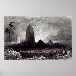 Templo de Jagannath, grabado por A. Picken, 1837 Poster
