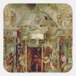 Templo de Jano, 1630s Pegatina Cuadrada