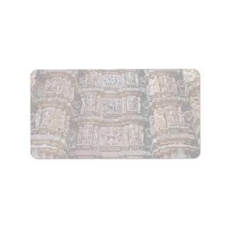 Templo de Khajuraho, la India Etiquetas De Dirección
