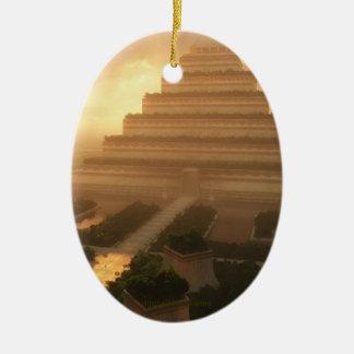 Templo de la hoja adorno ovalado de cerámica