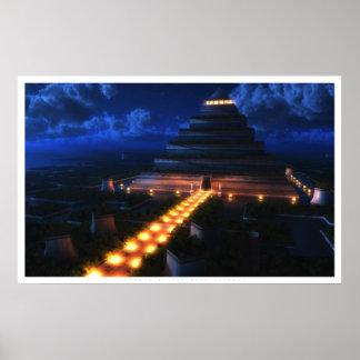 Templo de la hoja (noche) póster