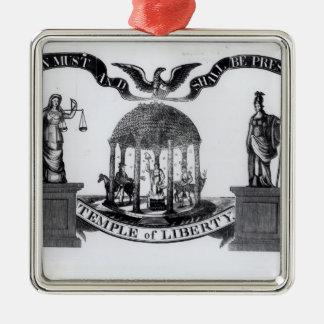 Templo de la libertad, 1834 adorno navideño cuadrado de metal