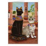 Templo de la tarjeta del arte del gato de la diosa