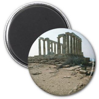 Templo de las ruinas de Poseidon Imán Redondo 5 Cm