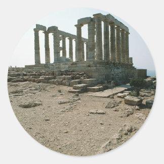 Templo de las ruinas de Poseidon Pegatina Redonda