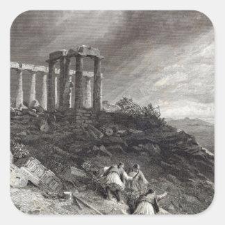 Templo de Minerva Sunium, grabado por J. Saddler Pegatina Cuadrada