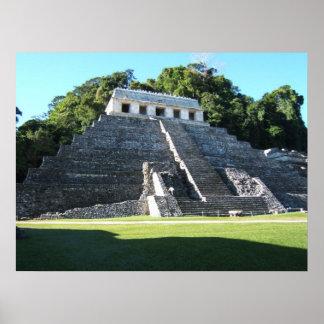 Templo de Palenque de inscripciones Póster
