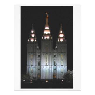Templo de Salt Lake en la noche Plantillas De Membrete