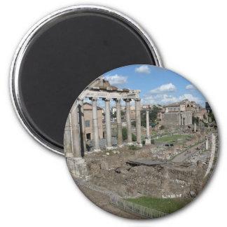 Templo de Saturn, foro Romanum Imán Redondo 5 Cm
